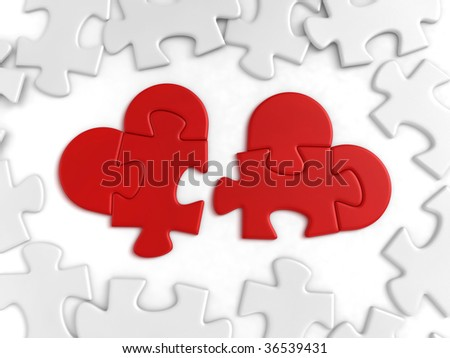 Heart-shaped pieces of puzzle lying among the ordinaries. 3D-rendered image