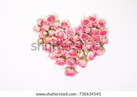 Heart Shaped Pink Rose Arrangement on a White Background. #730634545