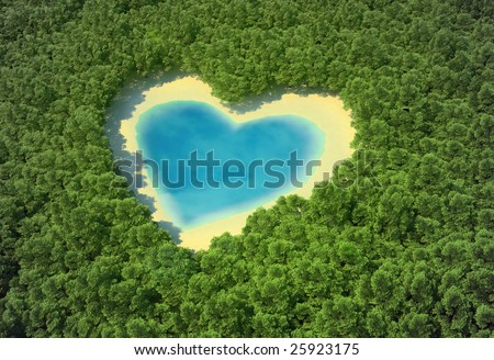 Heart-shaped pond in a tropical forest - stock photo