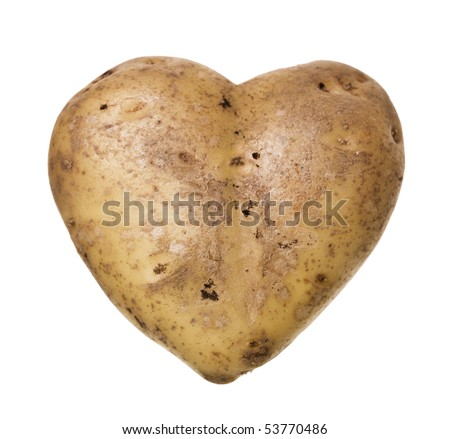Heart-shaped Potato isolated on white background