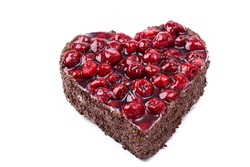 heart shaped Raspberry cake whit isolated. High quality photo