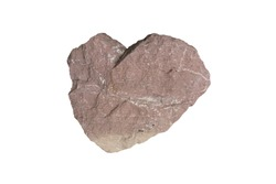 Heart shaped red limestone with quartz vein stone isolated on white background.