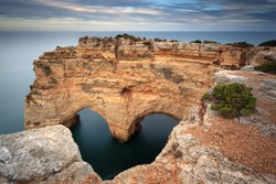 Heart-shaped Rock in the Algarve on the southern coast of Portugal