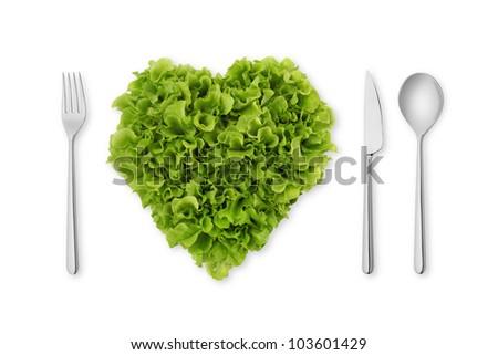 heart-shaped salad, lettuce - stock photo