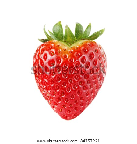 Heart-shaped strawberry, isolated on white