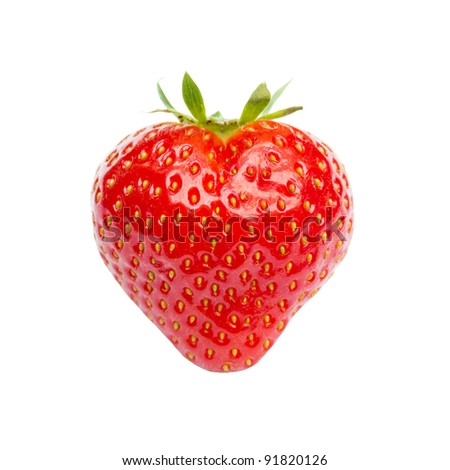Heart shaped strawberry isolated on white
