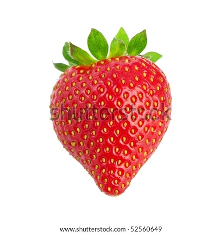 Heart-shaped strawberry on a white background .