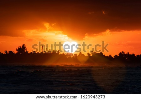 heart-shaped sun sets behind the trees on the horizon. The concept of former love, farewell. The idea of divorce, separation and breakdown of relationships. Symbol of love. a dark, sad atmosphere. Stock photo ©