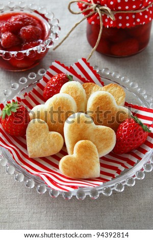 Heart shaped toast with fresh strawberry