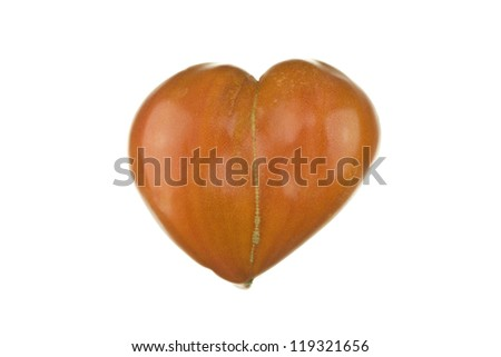 heart-shaped tomato  on pure white background