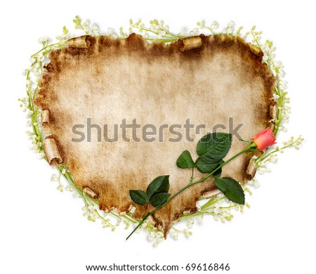 Heart-shaped vintage piece of parchment with a red rose on it. Valentines Day Card romantic love letter background isolated on white.