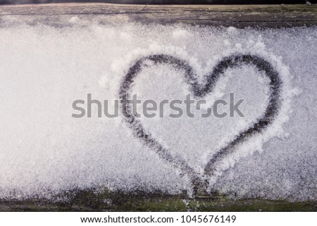 Heart symbol draw snow winter cold weather #1045676149