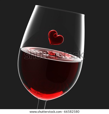Heart symbol in wineglass, Valentine's Day