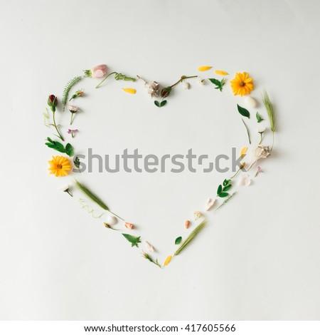Heart symbol made of various natural things. Love concept. Flat lay. #417605566
