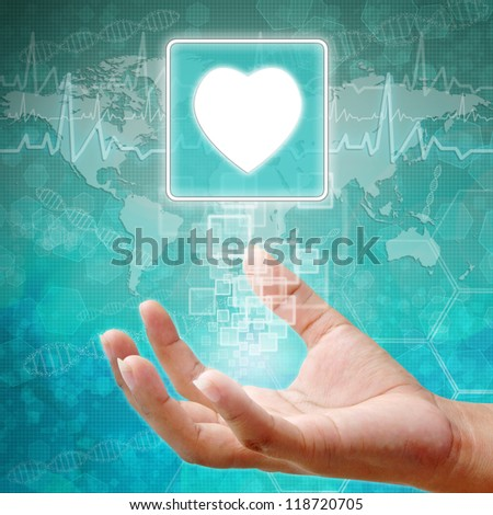 Heart Symbol on hand , medical icon