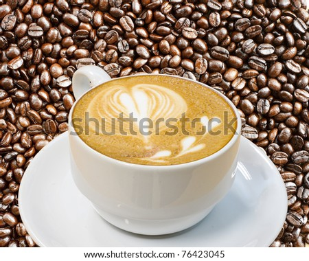 heart symbol on latte coffee cup