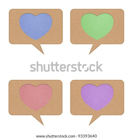 Heart tag recycled paper on white background