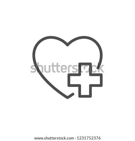 Heart treatment line icon isolated on white