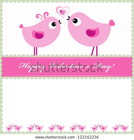Heart Valentines Day background or card with birds.
