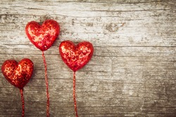 Heart vintage style on wood background, valentine's day Background