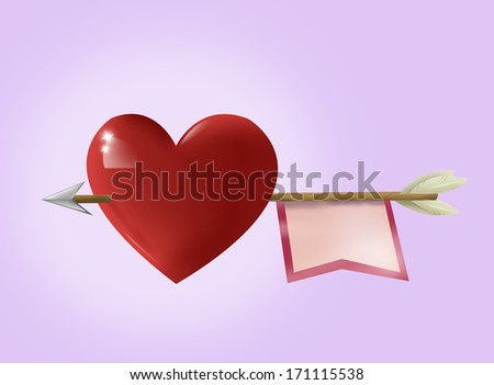 Heart with Arrow Illustration in pink background