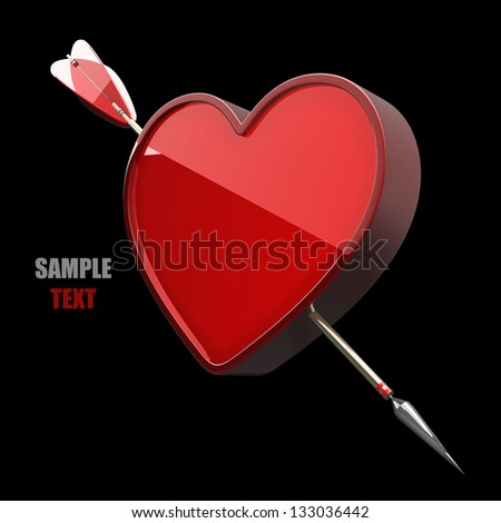 Heart with arrow isolated on black background high resolution 3d illustration