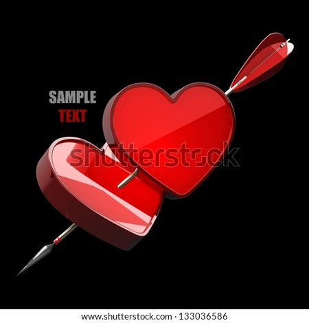 Heart with arrow isolated on black background high resolution 3d illustration - stock photo