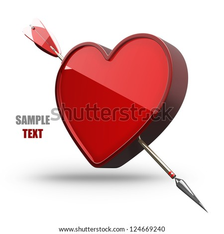 Heart with arrow isolated on white background  high resolution 3d illustration