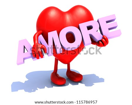 "heart with arts that embraces a word ""amore"", 3d illustration"