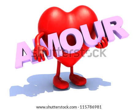 "heart with arts that embraces a word ""amour"", 3d illustration"