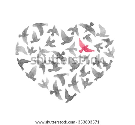 heart with birds for valentine...