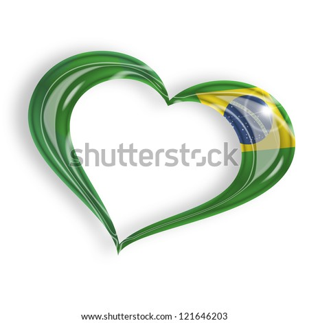 heart with brazilian flag  isolated on white background