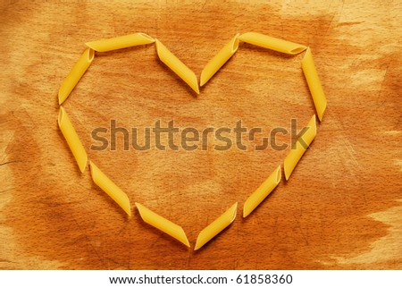 heart with penne rigate