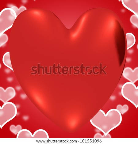 Heart With Red Hearts Background Shows Loving And Romance