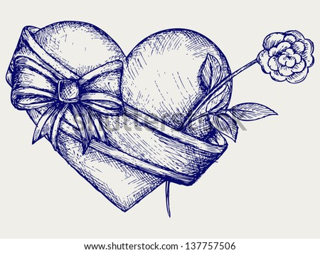 Heart with ribbon and flower. Doodle style. Raster version - stock photo