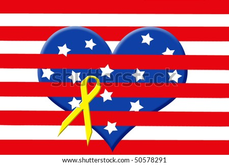 heart with stars in stripes with yellow ribbon