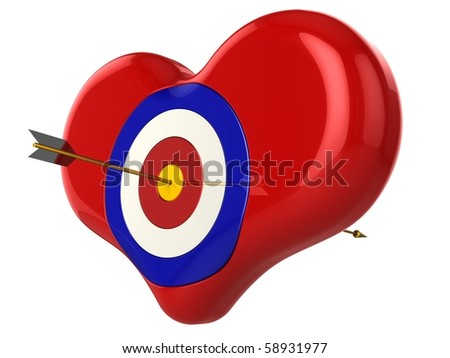 Heart with target pierced by an Cupid's Arrow. 3D render