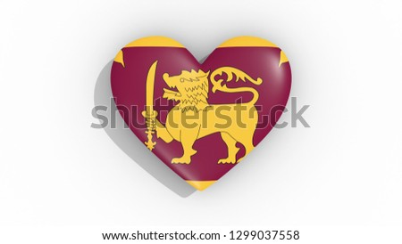 Heart with the symbolism of Sri Lanka 3d rendering