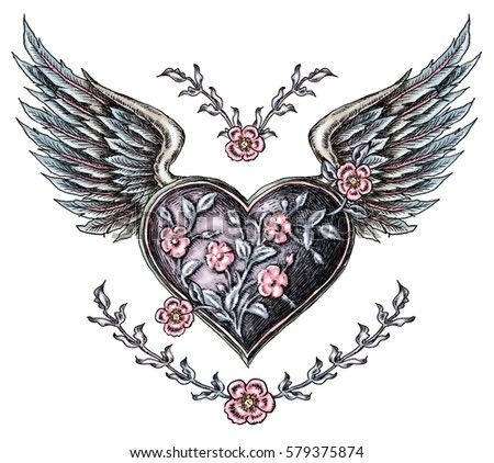 heart with wings in tattoo style