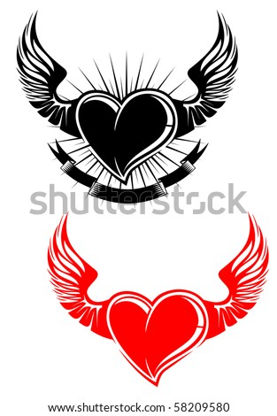 stock photo : Heart with wings tattoo symbol. Vector version also available