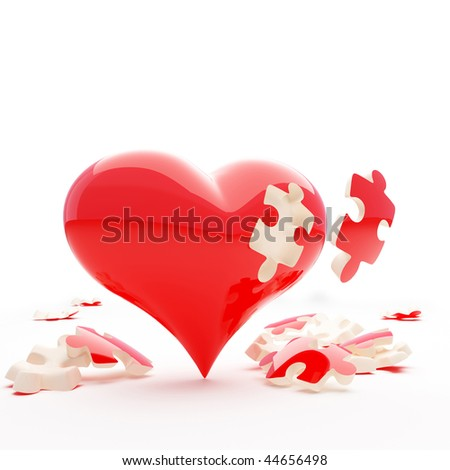 heart without a puzzle piece - stock photo
