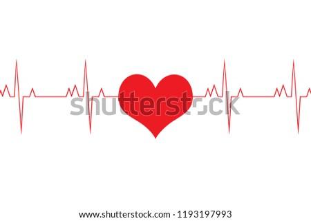 Heartbeat cardiogram, heart pulse, cardiology concept, love for medicine