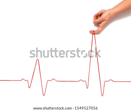 Heartbeat rhythm graph on a white background. Electric cardiogram. Blood pressure. Stress induced heart disease. #1549527056