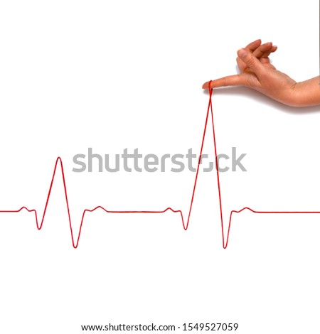 Heartbeat rhythm graph on a white background. Electric cardiogram. Blood pressure. Stress induced heart disease. #1549527059