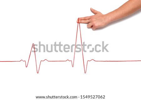 Heartbeat rhythm graph on a white background. Electric cardiogram. Blood pressure. Stress induced heart disease. #1549527062