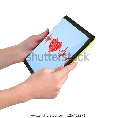 heartbeat symbol on touchpad in hand