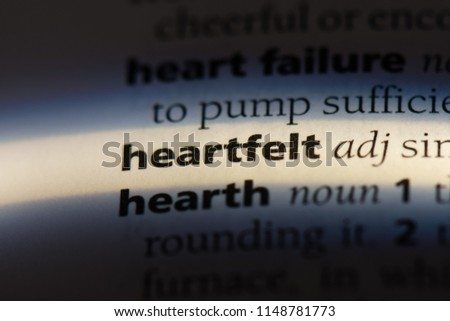 heartfelt word in a dictionary. heartfelt concept.