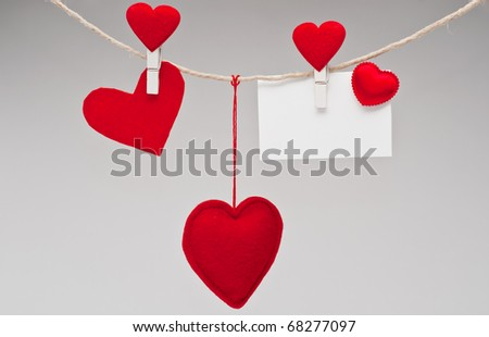 hearts and blank card isolated on white background