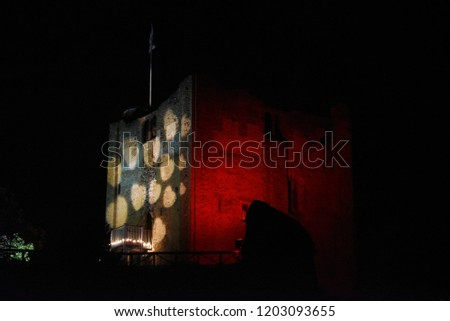 Hearts are projected onto the wall of Guildford's castle at night #1203093655