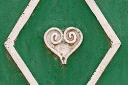 Hearts drawn on the gates of the USSR. Heart painted on the gate. Iron heart. Stylish heart that was used on gates and fences in the USSR. Hearts of St. Valentine